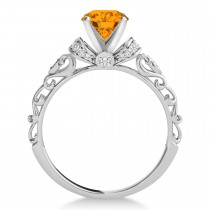 Citrine & Diamond Antique Style Engagement Ring 14k White Gold (0.87ct)