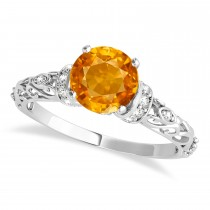 Citrine & Diamond Antique Style Engagement Ring 18k White Gold (0.87ct)
