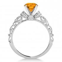 Citrine & Diamond Antique Style Engagement Ring 14k White Gold (1.12ct)