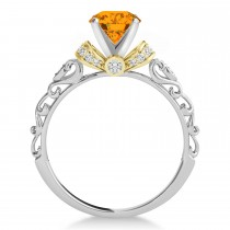 Citrine & Diamond Antique Style Engagement Ring 18k Two-Tone Gold (1.12ct)
