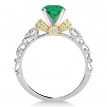 Emerald & Diamond Antique Style Engagement Ring 14k Two-Tone Gold (0.87ct)