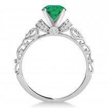 Emerald & Diamond Antique Style Engagement Ring Palladium (0.87ct)