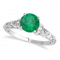 Emerald & Diamond Antique Style Engagement Ring 18k White Gold (1.12ct)
