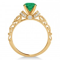 Emerald & Diamond Antique Style Engagement Ring 14k Rose Gold (1.62ct)