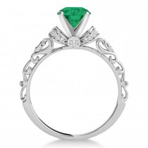 Emerald & Diamond Antique Style Engagement Ring 14k White Gold (1.62ct)