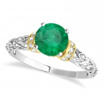 Emerald & Diamond Antique Style Engagement Ring 14k Two-Tone Gold (1.62ct)