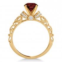 Garnet & Diamond Antique Style Engagement Ring 14k Rose Gold (0.87ct)