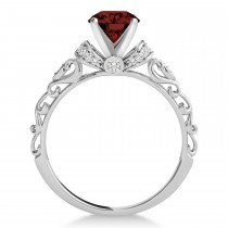 Garnet & Diamond Antique Style Engagement Ring 14k White Gold (0.87ct)