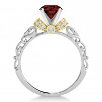 Garnet & Diamond Antique Style Engagement Ring 14k Two-Tone Gold (0.87ct)