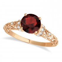 Garnet & Diamond Antique Style Engagement Ring 14k Rose Gold (1.12ct)