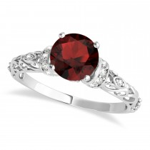 Garnet & Diamond Antique Style Engagement Ring 14k White Gold (1.12ct)