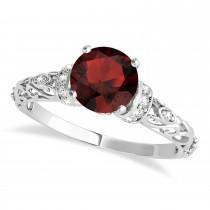 Garnet & Diamond Antique Style Engagement Ring Palladium (1.12ct)