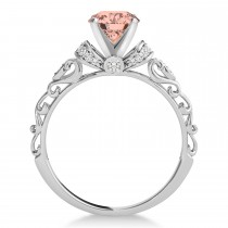 Morganite & Diamond Antique Style Engagement Ring 14k White Gold (0.87ct)