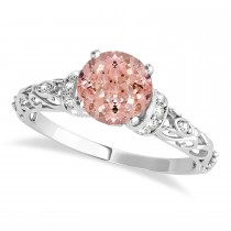 Morganite & Diamond Antique Style Engagement Ring 18k White Gold (0.87ct)