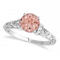 Morganite & Diamond Antique Style Engagement Ring Palladium (0.87ct)