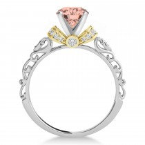 Morganite & Diamond Antique Style Engagement Ring 14k Two-Tone Gold (1.12ct)