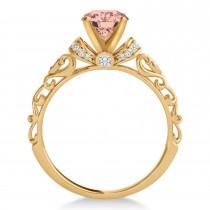 Morganite & Diamond Antique Style Engagement Ring 14k Rose Gold (1.62ct)