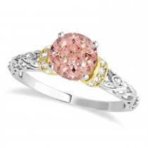 Morganite & Diamond Antique Style Engagement Ring 14k Two-Tone Gold (1.62ct)