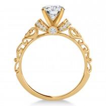 Moissanite & Diamond Antique Style Engagement Ring 14k Rose Gold (0.87ct)