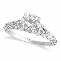 Moissanite & Diamond Antique Style Engagement Ring 14k White Gold (0.87ct)