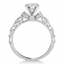 Moissanite & Diamond Antique Style Engagement Ring 18k White Gold (0.87ct)