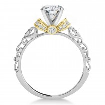 Moissanite & Diamond Antique Style Engagement Ring 18k Two-Tone Gold (0.87ct)