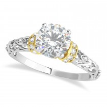 Moissanite & Diamond Antique Style Engagement Ring 18k Two-Tone Gold (1.12ct)
