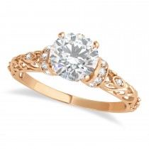 Moissanite & Diamond Antique Style Engagement Ring 14k Rose Gold (1.62ct)