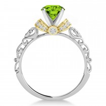 Peridot & Diamond Antique Style Engagement Ring 18k Two-Tone Gold (0.87ct)