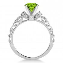 Peridot & Diamond Antique Style Engagement Ring Palladium (0.87ct)