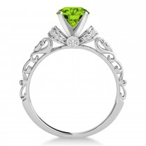 Peridot & Diamond Antique Style Engagement Ring Platinum (0.87ct)