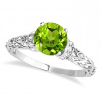 Peridot & Diamond Antique Style Engagement Ring 18k White Gold (1.12ct)