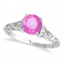 Pink Sapphire & Diamond Antique Style Engagement Ring 18k White Gold (0.87ct)