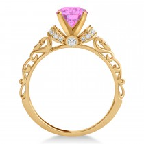 Pink Sapphire & Diamond Antique Style Engagement Ring 14k Rose Gold (1.12ct)
