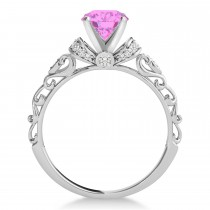 Pink Sapphire & Diamond Antique Style Engagement Ring 14k White Gold (1.12ct)