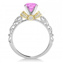 Pink Sapphire & Diamond Antique Style Engagement Ring 14k Two-Tone Gold (1.62ct)