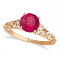 Ruby & Diamond Antique Style Engagement Ring 14k Rose Gold (0.87ct)
