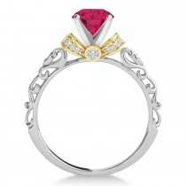 Ruby & Diamond Antique Style Engagement Ring 18k Two-Tone Gold (0.87ct)