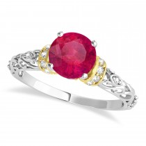 Ruby & Diamond Antique Style Engagement Ring 18k Two-Tone Gold (1.12ct)
