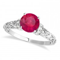 Ruby & Diamond Antique Style Engagement Ring Platinum (1.62ct)