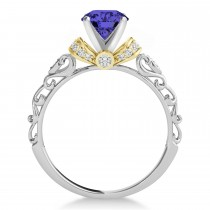 Tanzanite & Diamond Antique Style Engagement Ring 14k Two-Tone Gold (1.12ct)