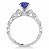 Tanzanite & Diamond Antique Style Engagement Ring 18k White Gold (1.12ct)