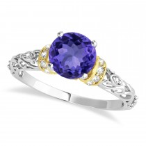 Tanzanite & Diamond Antique Style Engagement Ring 18k Two-Tone Gold (1.12ct)
