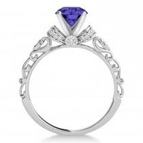 Tanzanite & Diamond Antique Style Engagement Ring Palladium (1.12ct)