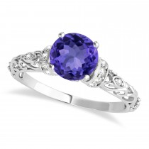 Tanzanite & Diamond Antique Style Engagement Ring 14k White Gold (1.62ct)