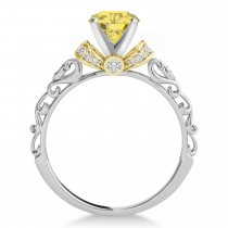Yellow Diamond & Diamond Antique Style Engagement Ring 14k Two-Tone Gold (0.87ct)