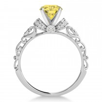 Yellow Diamond & Diamond Antique Style Engagement Ring 18k White Gold (0.87ct)