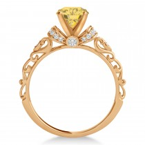 Yellow Diamond & Diamond Antique Style Engagement Ring 14k Rose Gold (1.12ct)
