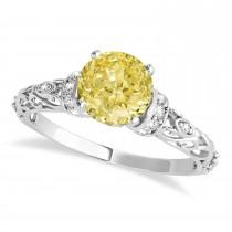 Yellow Diamond & Diamond Antique Style Engagement Ring 14k White Gold (1.62ct)