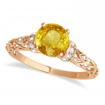 Yellow Sapphire & Diamond Antique Style Engagement Ring 14k Rose Gold (0.87ct)